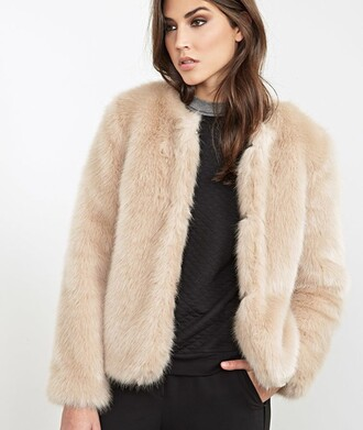 jacket faux fur faux fur jacket fur fur jacket coat fur coat collarless forever 21 taupe taupe colour beige white flawless size small