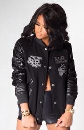 jacket,black jacket,american football jacket,sports jacket,cassie ventura