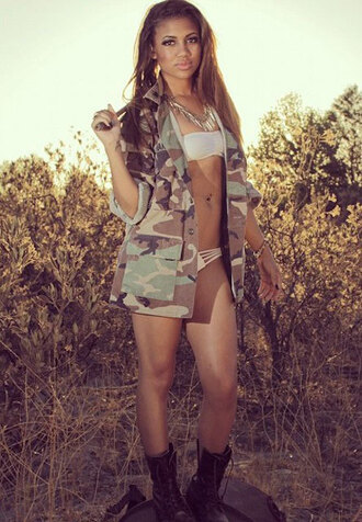 swimwear paige hurd all white everything model actress camo jacket black boots badbitch thuggin