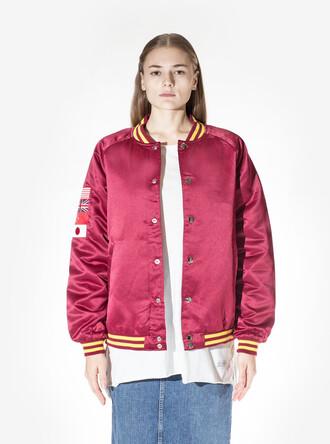 jacket pink jacket hot pink satin bomber oversized jacket bomber jacket