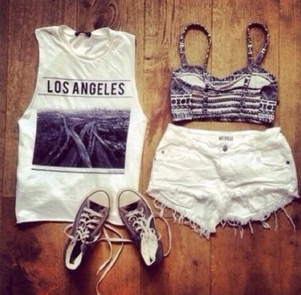 blouse jeans shoes tank top shorts cute los angeles dope fashion style summer outfits summer top