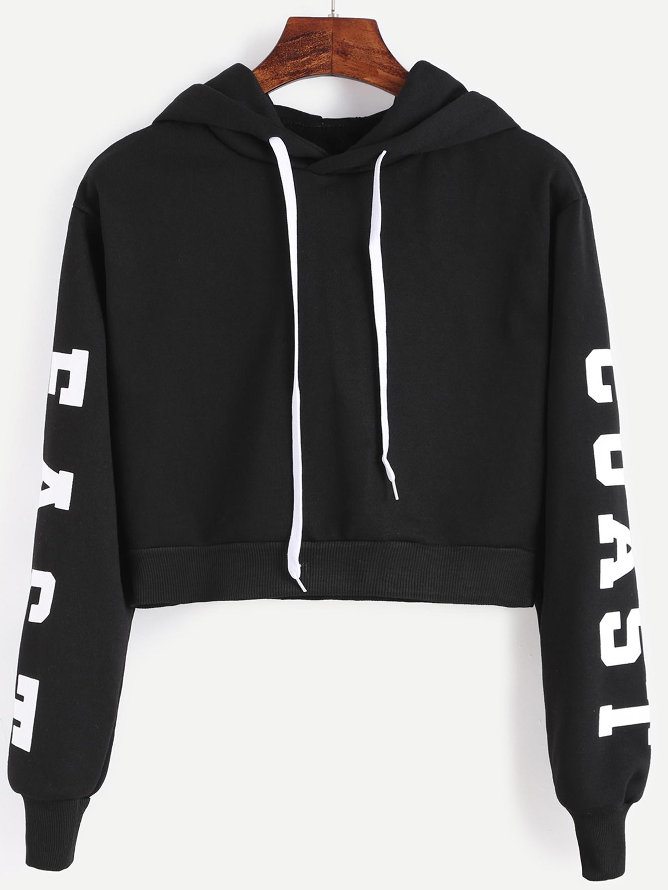 7d5fbe6575f Black Hooded Letters Print Crop Sweatshirt -SheIn(Sheinside)