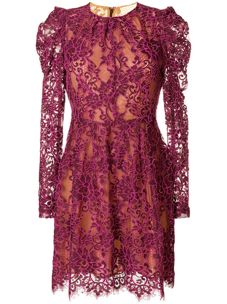 MICHAEL Michael Kors dress lace dress women scalloped lace floral cotton purple pink