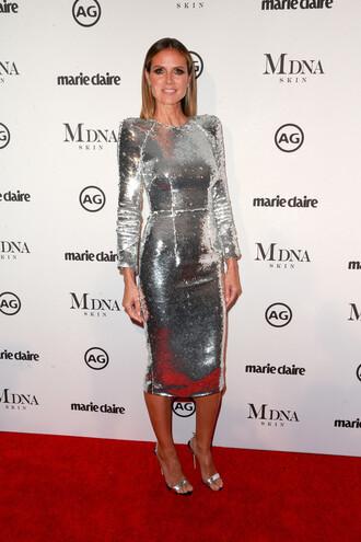 dress midi dress silver silver dress heidi klum metallic metallic dress