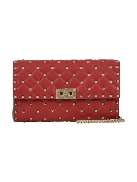 quilted clutch red bag