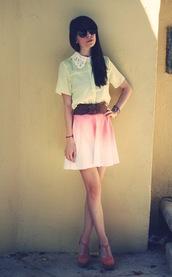 skirt,dip dyed,tie dye,skater skirt,pink,blouse