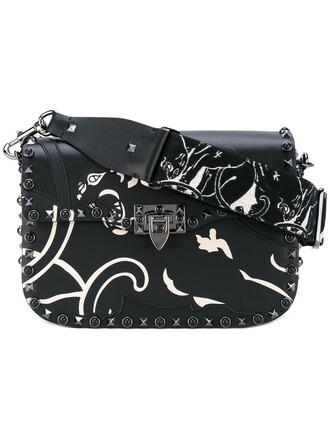 metal embroidered women bag shoulder bag leather cotton black