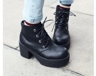 shoes black martin boots platform shoes chunky boots block heels leather heel grunge chunky platforms punk 90s style lace up mid heel boots blackbotts