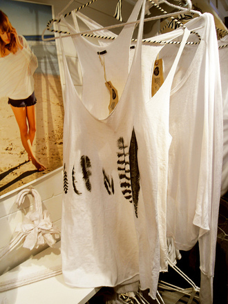feathers tank top white lose oversized print