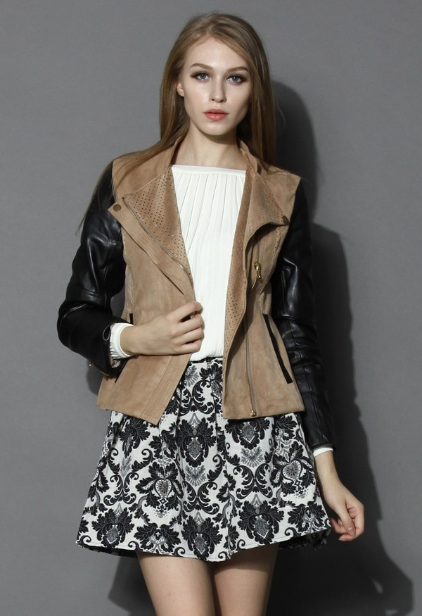 jacket chicwish suede faux leather biker jacket
