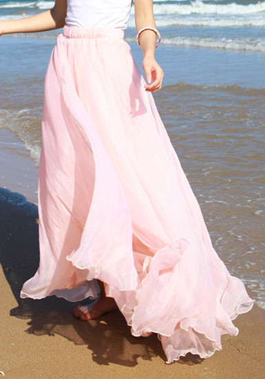 Circle Maxi Skirt - Baby Pink - Lookbook Store