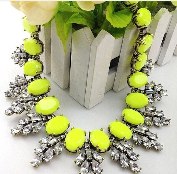 neon yellow jewels necklace silver