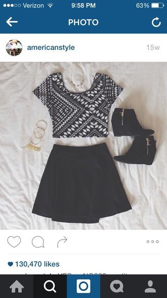 top aztec cute skirt crop tops skater skirt black white black top black and white white top