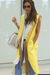 coat,yellow,summer,victoria beckham,long jacket,sleeveless jacket,fashion