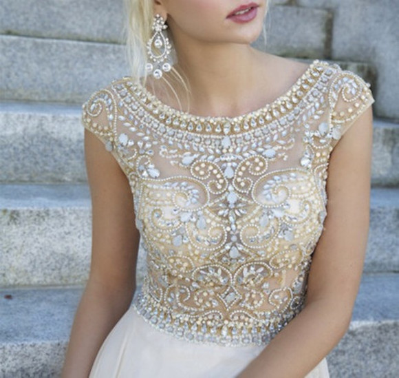 dress white dress beige dress jewels wihte dress wedding dress diamonds dress diamonds