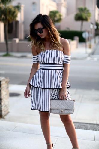 dress tumblr mini dress off the shoulder off the shoulder dress stripes striped dress bag