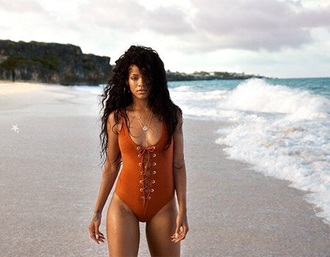 swimwear rihanna one piece swimsuit lace up lace up swimwear sexy tie up