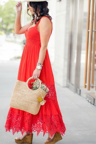 live more beautifully blogger dress jewels shoes bag raffia bag red dress wedge sandals spring outfits