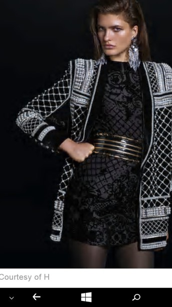 0c7a0483361e jacket balmain h and m pearl embroidered embellished black and white little  black dress dewy make