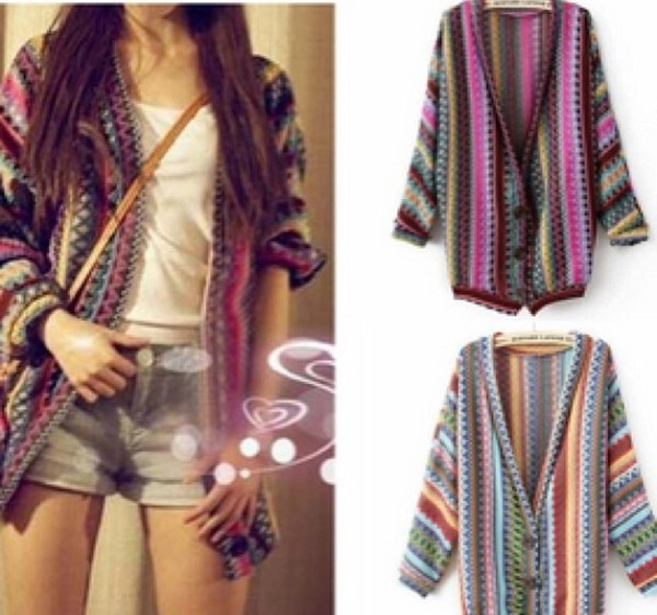 Women Boho Ethnic Rainbow Weave Stripe Knit V Neck Sweater