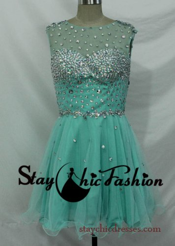 Mesh Top Blue Short Prom Dresses