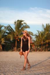 b a r t a b a c,blogger,romper,bag,beach,sandals