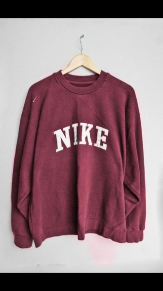sweater wine red nike sweater vintage pullover retro