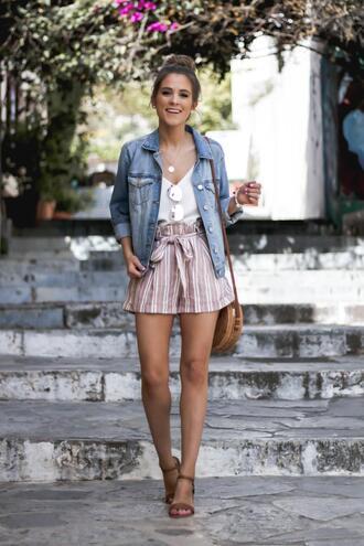 thedaintydarling blogger bag shorts shoes tank top jacket