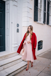 gal meets glam,blogger,dress,coat,shoes,bag,red coat,winter outfits,pink dress,midi dress,pink bag,red heels,high heel pumps,vince,louboutin,mansur gavriel,christmas,valentines day,new year's eve,sweet,feminine,pink,red