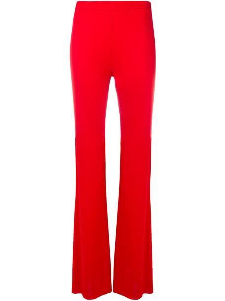 high women silk red pants