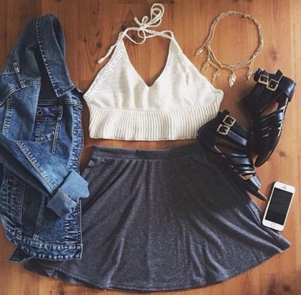 jacket shirt shoes skirt