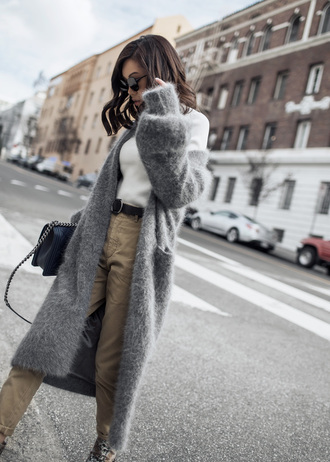 tsangtastic blogger cardigan coat top sunglasses bag shoes fuzzy cardigan winter outfits boots pants