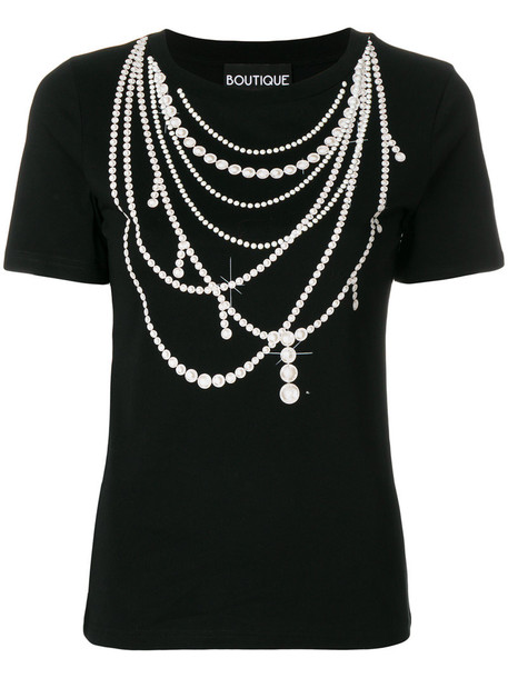 BOUTIQUE MOSCHINO women pearl necklace cotton print black jewels