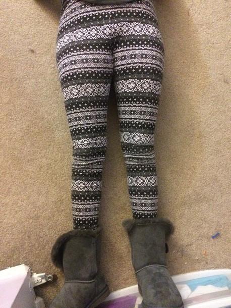 leggings grey white black