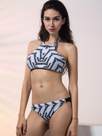 swimwear mynystyle black black and white halter top trendy casual cute sexy bikini sexy tumblr