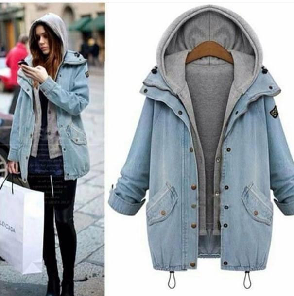 Jacket Denim Jacket Coat Blue Denim Grey Hoodie Wheretoget