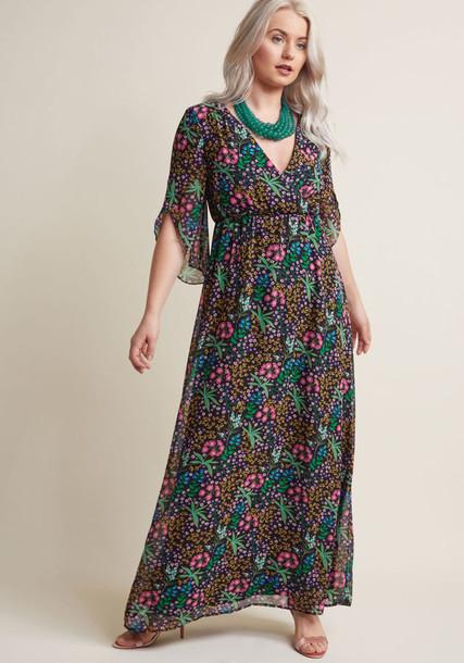 Modcloth dress maxi dress maxi chiffon floral black blue