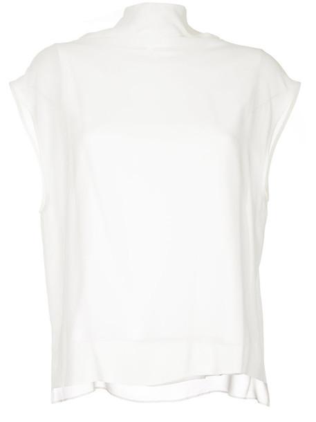 Jean Paul Knott top high women high neck layered white cotton silk