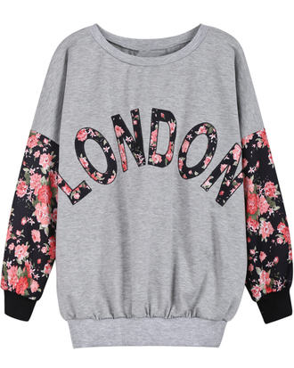 sweater london floral grey grey sweater