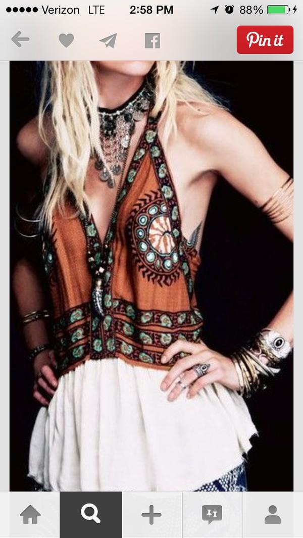 orange rust bohemia halter boho chic hippie gypsy