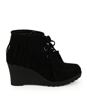 shoes wedges boots booties fringes tassel lace up boots black booties booties black wedges