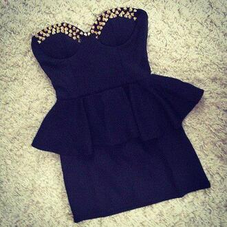 dress black dress spikes studs studded dress dresses nieten kleid black cute sparks