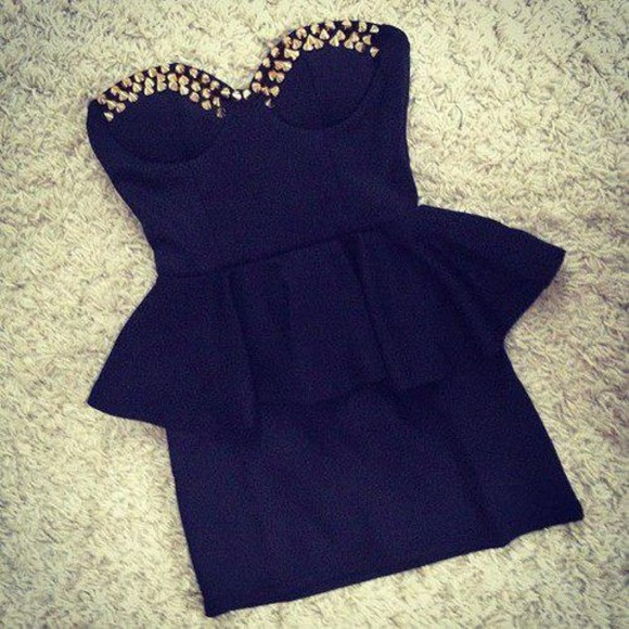 dress little black dress studs studded dress spikes black cute nieten kleid