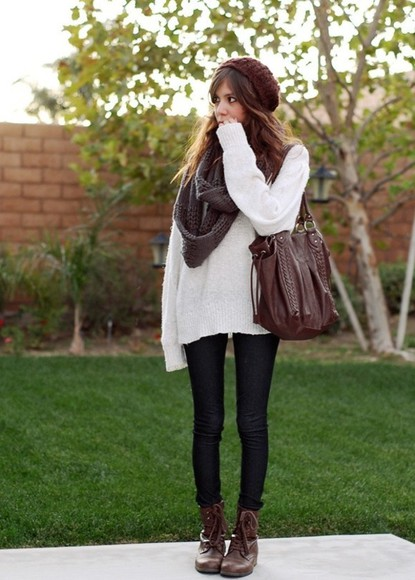 brown hat hat sweater scarf fall outfit grey scarf shoes fall cold tumblr slouchy sweater purse big scarf bag jewels white clothes indie brown bag leather bag shoulder bag oversized sweater combat boots beanie