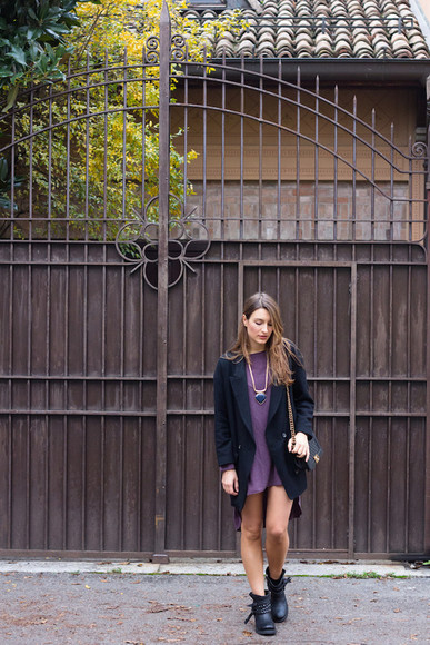 combat boots blogger bag style and trouble jewels purple dress coat
