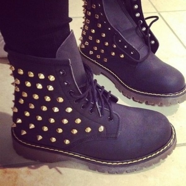 shoes clothes black studded boots timberland gold studs boots spiked studded shoes black boots with design timberlands