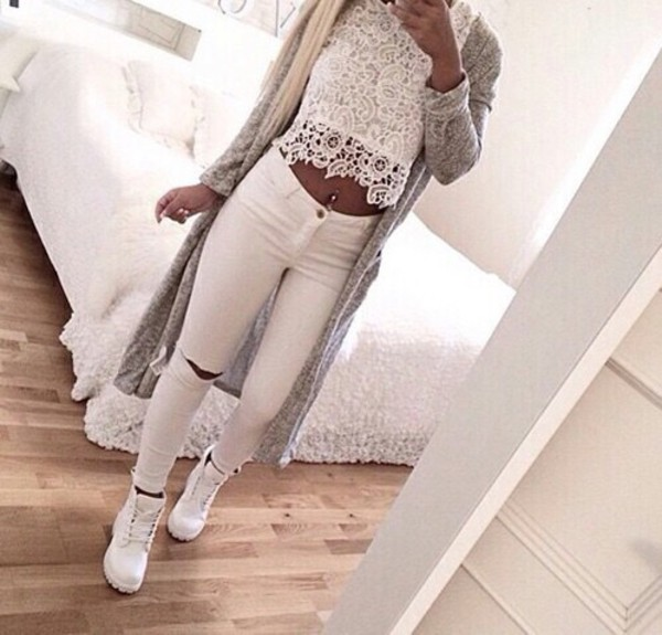 MOTO White Ripped Leigh Jeans - Jeans - Clothing