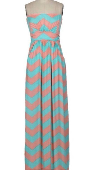 dress maxi dress maxi coral maxi skirt aqua dress spring trends 2014 chevron, maxi, dress, coral clothing boutique