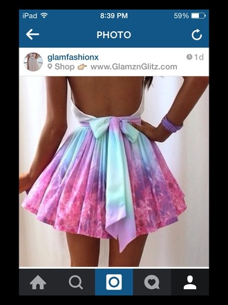 dress white blue pink purple bow open back dresses