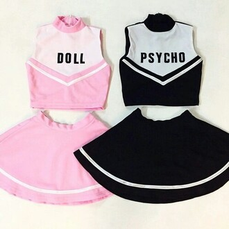 dress doll cheerleading cheerleader uniforme pink black beautiful crop tops pale cute pastel skirt pretty hot uniform halloween costume grunge halloween grunge wishlist psyco outfit